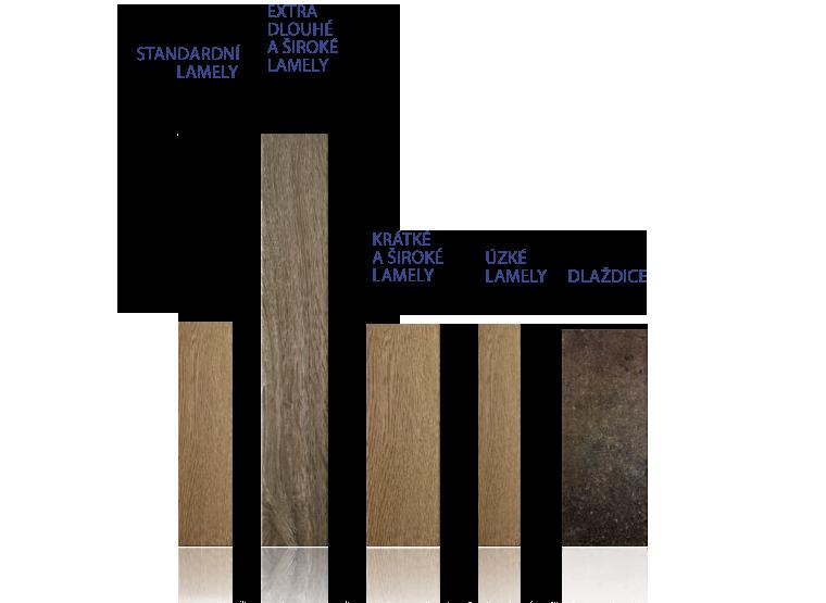 Ukázka typů a délky laminátových lamel na podlahu